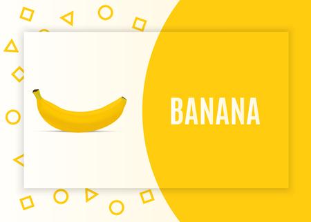 Realistic banana. Modern minimal banner design with geometric shapes. Vector illustration