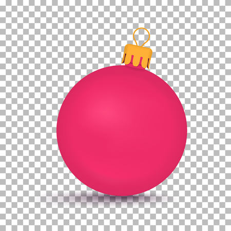 Pink Christmas ball isolated on transparent pattern. Illustration