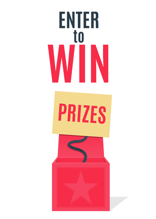 Open red surprise box with banner on the spiral. Enter to Win Prizes. Vector Illustration.