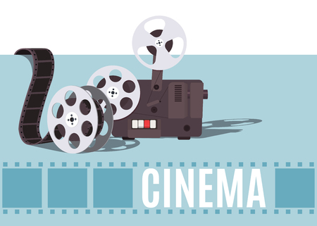 Old cinema projector with movie reel. Template for banner, flyer or poster.