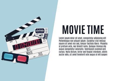 Movie time. Template for banner, flyer or poster. Vector illustration Иллюстрация
