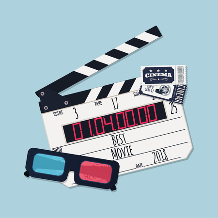 Movie clapper board, tickets and video glasses. Vector illustration
