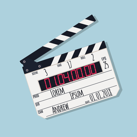Movie clapper board isolated on blue background. Vector illustration Illustration