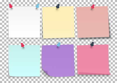 Set of sheets of color notes paper with push pins on a transparent background. Vector illustration