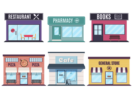 Store and restaurants facades. Fast Food Restaurants and shop buildings. Vector illustration in flat style