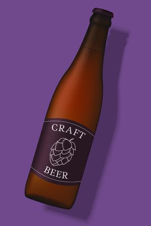 紫色の背景に隔離された現実的なビールボトル。  イラスト・ベクター素材