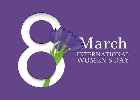8 maart. Internationale Vrouwendag. Sjabloon voor posters of kaarten met nummer 8 en tulpen. Vector illustratie Stockfoto - 94688167