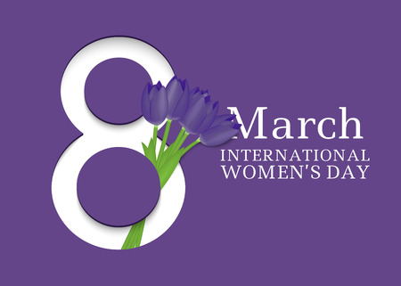 8 March. International Womens Day. Template for posters or cards with number 8 and tulips. Vector illustration