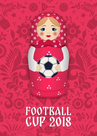 Matriochka avec une balle sur le fond des motifs et des éléments russes. Football 2018. Illustration vectorielle