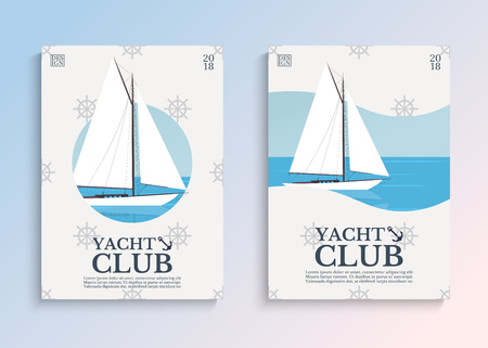 Yacht club. Sailboat in the open sea. Template for covers, card or poster. Vector illustration. Фото со стока - 96384770