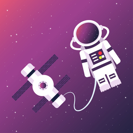 Astronaut and space station in the background of an open space. Vector illustration. 向量圖像