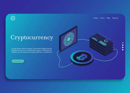 Blockchain technology. Cryptocurrency isometric composition. Vector illustration
