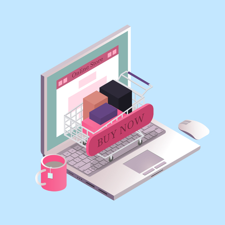 Online shopping concept. Online shop on the laptop screen. Isometric vector illustration