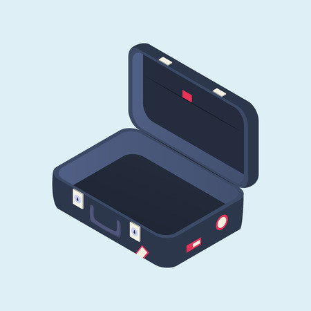 Isometric open suitcase. Travel bag with stickers. Vector illustration