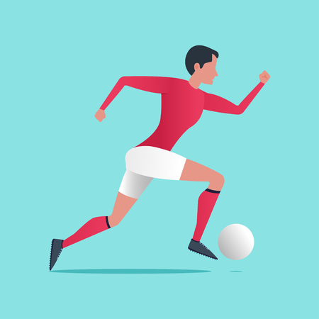 Running football player with a ball Vector illustration