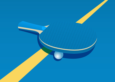 Racket for table tennis and ball. Vector illustration