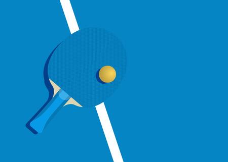 Modello per poster, carta o biglietto. Racchetta per tennis da tavolo e palla. Illustrazione vettoriale Vettoriali