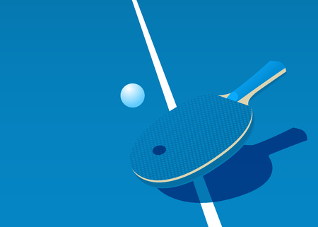 Template for poster, card or ticket. Racket for table tennis and ball. Vector illustration.