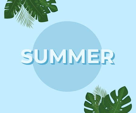 Summer background. Template with tropical leaves. Vector illustration