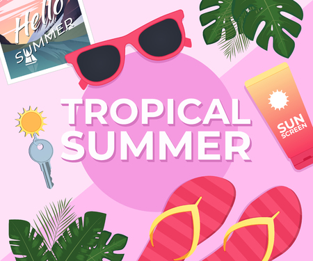 Summer background Template with tropical leaves Vector illustration Illustration