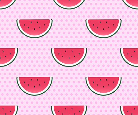 Summer background. Seamless pattern with watermelon slices. Vector illustration