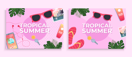 Summer background. Covers template with tropical leaves. Vector illustration Illustration
