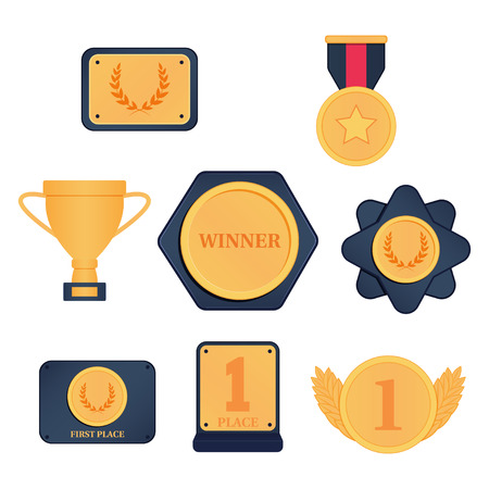 Set of awards, cups, medals. Vector illustration