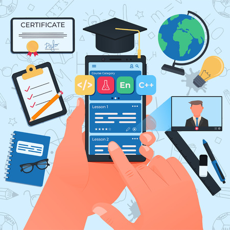 Online courses concept. Smartphone in the left hand. Vector illustration