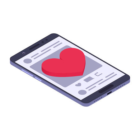 Social media concept. Big red heart on a smartphone. Isometric composition. Vector illustration Illustration