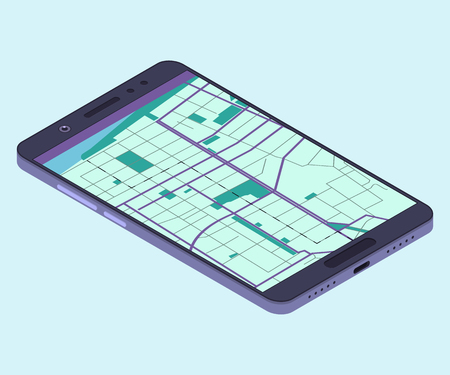 Smartphone with navigation app. Isometric composition. Vector illustration Illustration