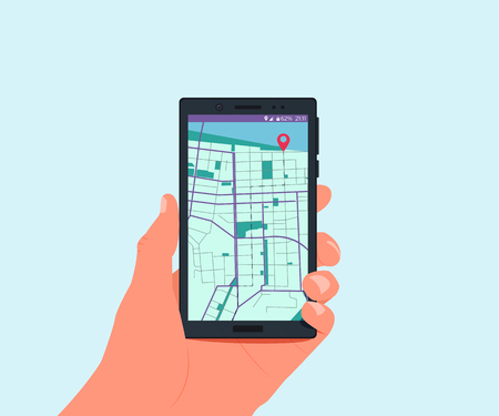 The route to the destination. Hand holding smartphone with navigation app. Vector illustration