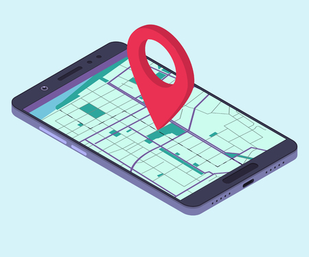 Smartphone with navigation app. Isometric composition. Vector illustration