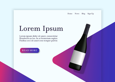 Realistic wine bottle with shadow on gradient shape background. Landing page template. Vector illustration