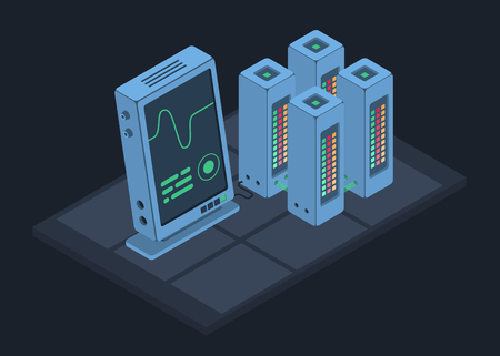 Database isometric concept. Cloud data storage. Vector illustration