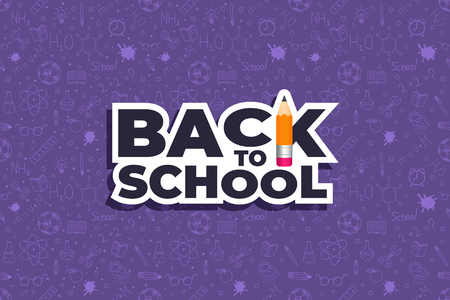 Back to school doodles background with logo. Back to school seamless pattern. Hand drawn objects. Vector illustration.