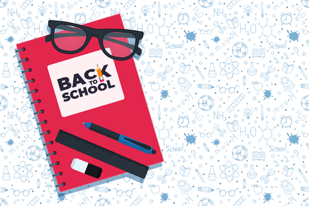 Back to school doodles background. Back to school seamless pattern. Hand drawn objects. Notebook, glasses and writing materials. Vector illustration. Illustration
