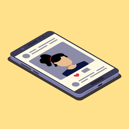 Social media concept. Smartphone and social network photo. Isometric composition. Vector illustration