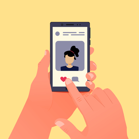 Social media concept. Smartphone and social network photo in the left hand. Vector illustration