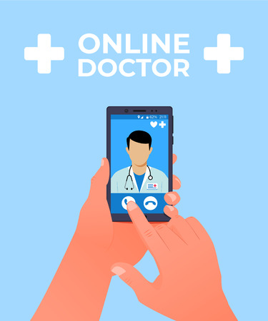 Online doctor concept. Hand holds a smartphone with an online clinic app. Vector illustration Ilustrace