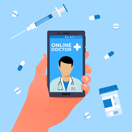 Online doctor concept. Hand holds a smartphone with an online clinic app. Vector illustration Illustration