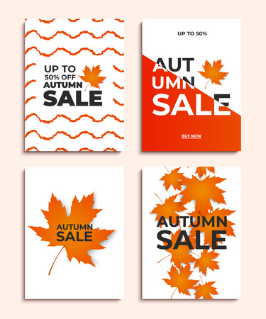 Set of autumn sale banners or posters. Vector illustration