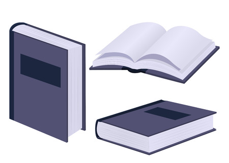 Set of books isolated on white background. Closed and open violet book. Vector illustration