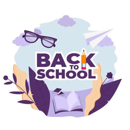 Back to school. Logo with fantasy plants and school item. Concept illustration in flat style. Vector illustration