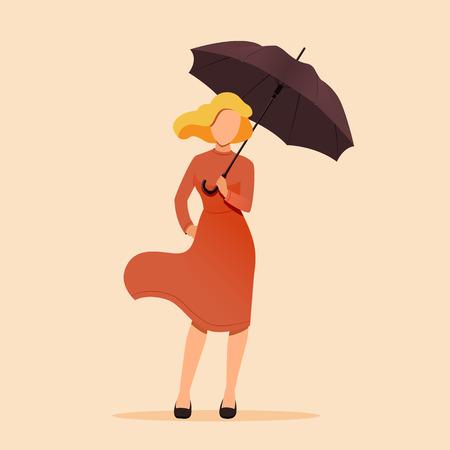 Autumn concept illustration. Woman holding an umbrella. Vector illustration Reklamní fotografie - 112229624