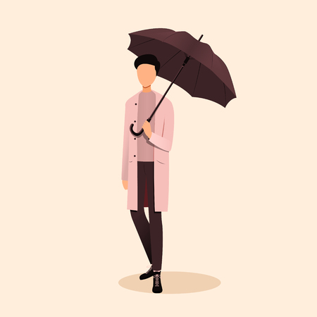 Autumn concept illustration. Man holding an umbrella. Vector illustration