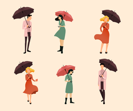 Set of people. People are holding umbrellas. Autumn concept. Vector illustration