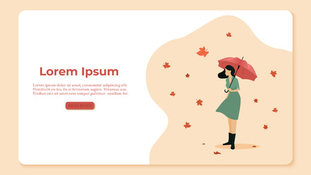 Autumn concept illustration. Woman holding an umbrella on the background of the leaves. Leaf fall and wind. Vector illustration Illustration