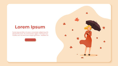 Autumn concept illustration. Woman holding an umbrella on the background of the leaves. Leaf fall and wind. Vector illustration Ilustrace