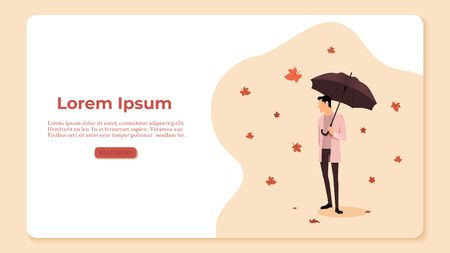 Autumn concept illustration. Man holding an umbrella on the background of the leaves. Leaf fall and wind. Vector illustration