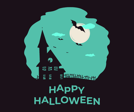 Happy Halloween. Vector double exposure illustration with silhouette and lettering for print, banners or posters.